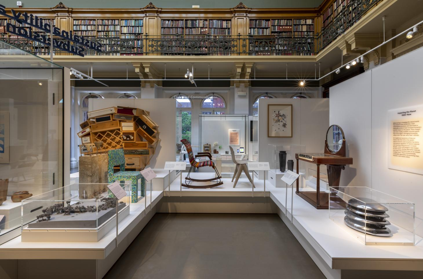 A display of furniture on plinths, shown inside the Victoria & Albert Museum library