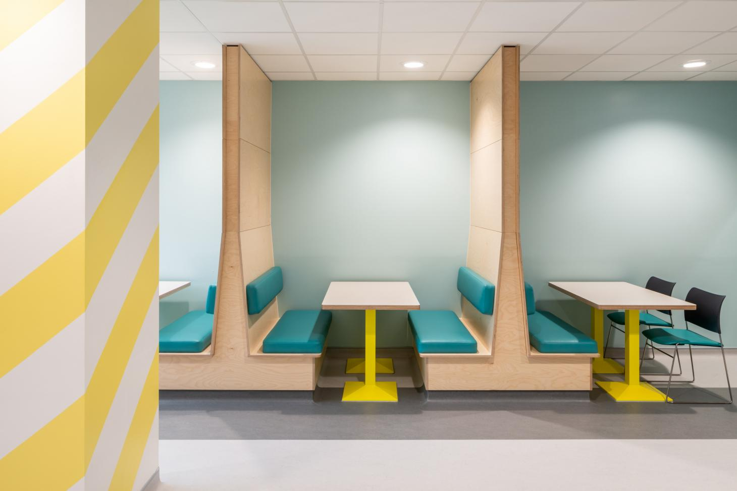 discussion and meeting booths in new colourful space for young mental health patients in Edinburgh by Projects Office