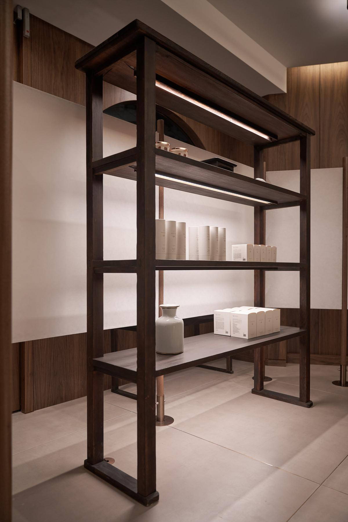 Shelving in the Eath Library cosmetics boutique in Seoul, South Korea