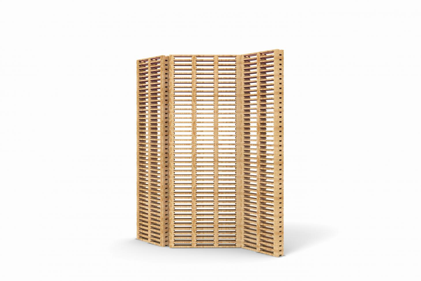 Wooden screen made of interlocking pieces