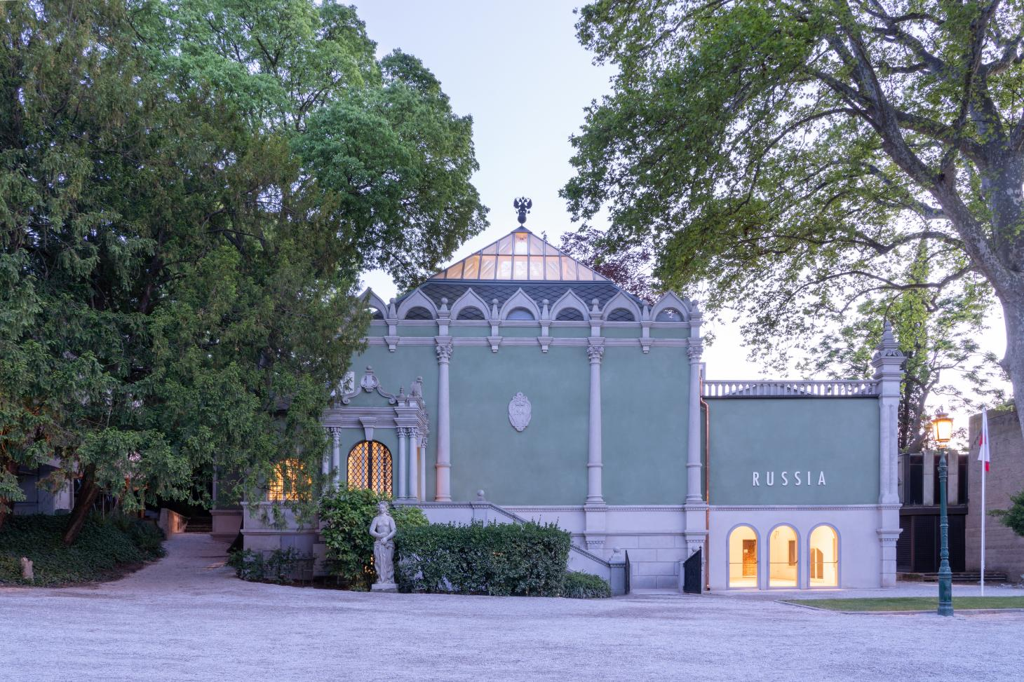 the Russian pavilion at the Giardini park in Venice was renovated for the 2021 architecture biennale
