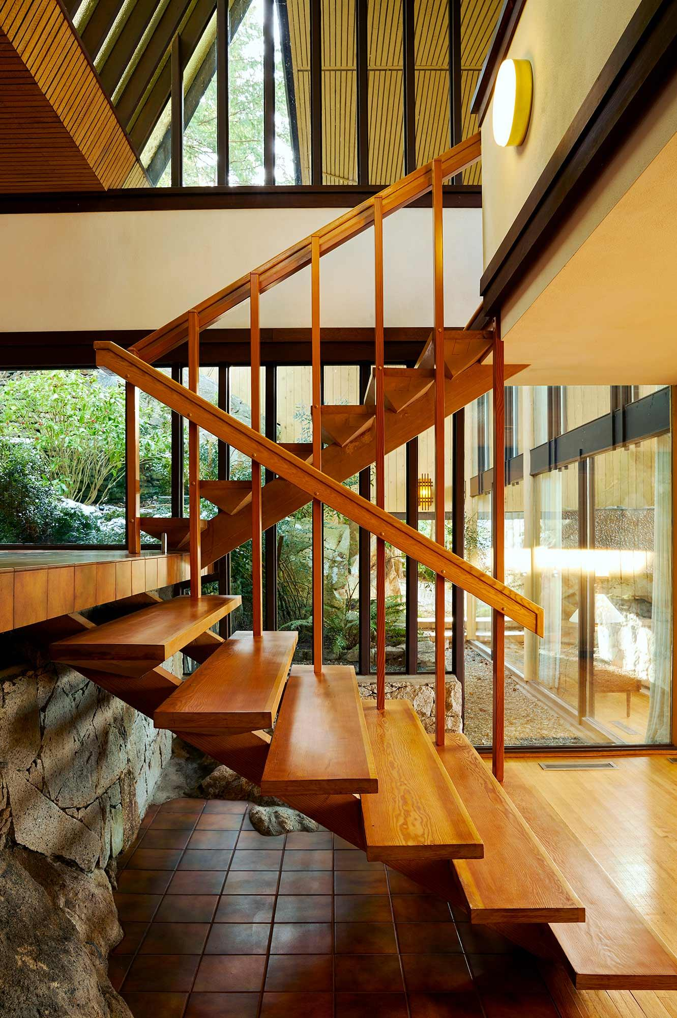 Timber staircase at Beaton house