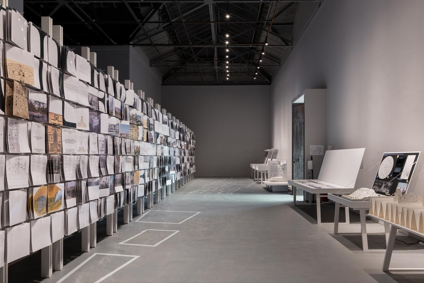 the Greek pavilion's installations span drawings and brochures dedicated to the city of Thessaloniki, all for the 2021 Venice Biennale
