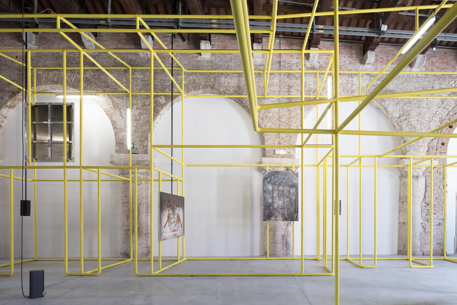 Swss practice Christ and Cantenbein worked on the yellow mesh structure of the Uzbek pavilion