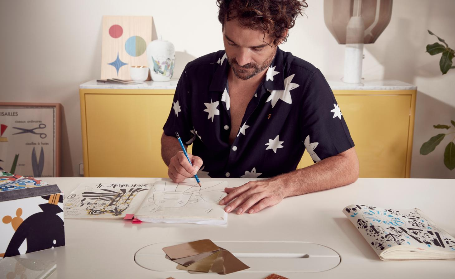 Jaime Hayon portrait in his studio, for Swarovski carousel