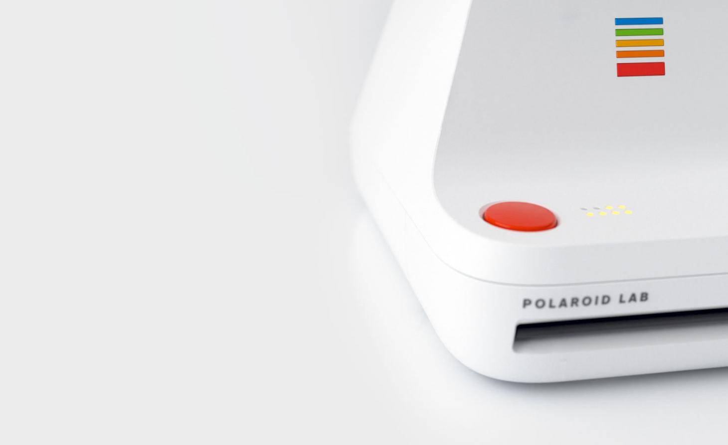 Detail view of Polaroid Lab digital to analogue photo printer