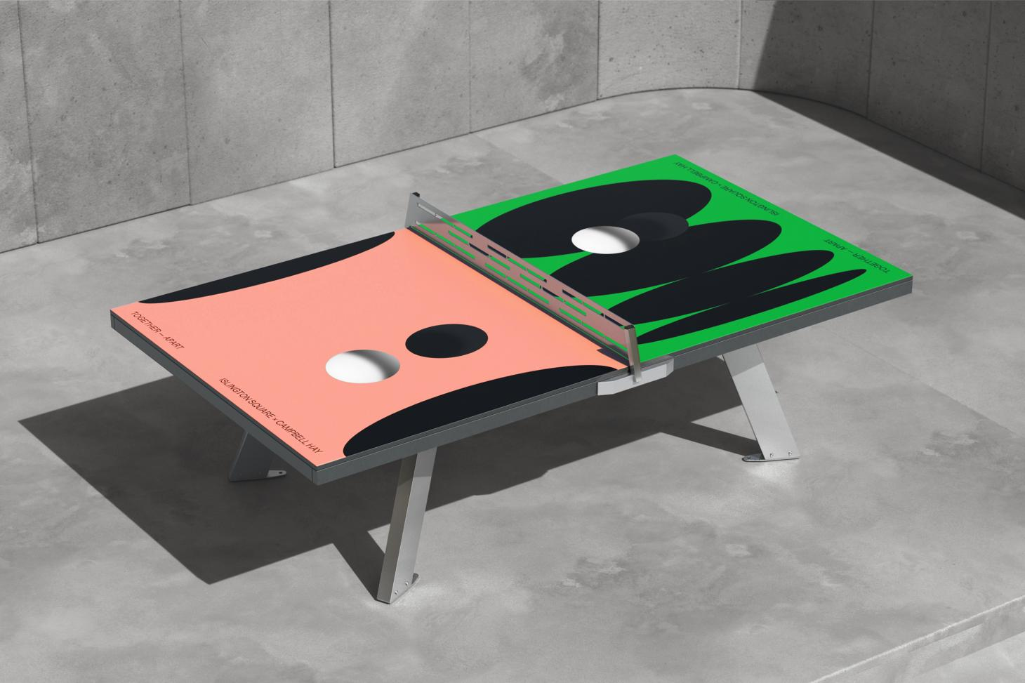 A colourful ping pong table