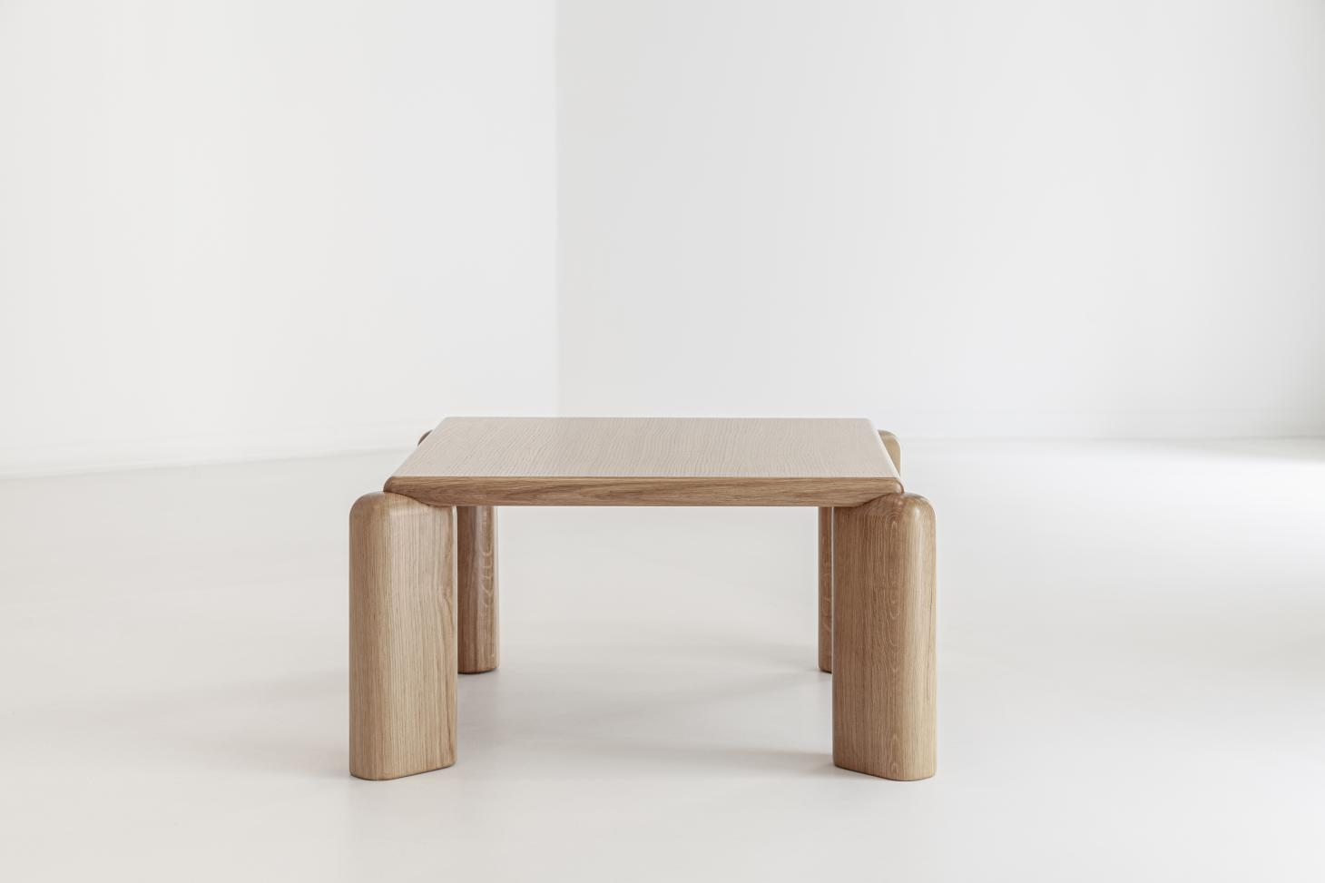 Low wooden table with chunky profiles