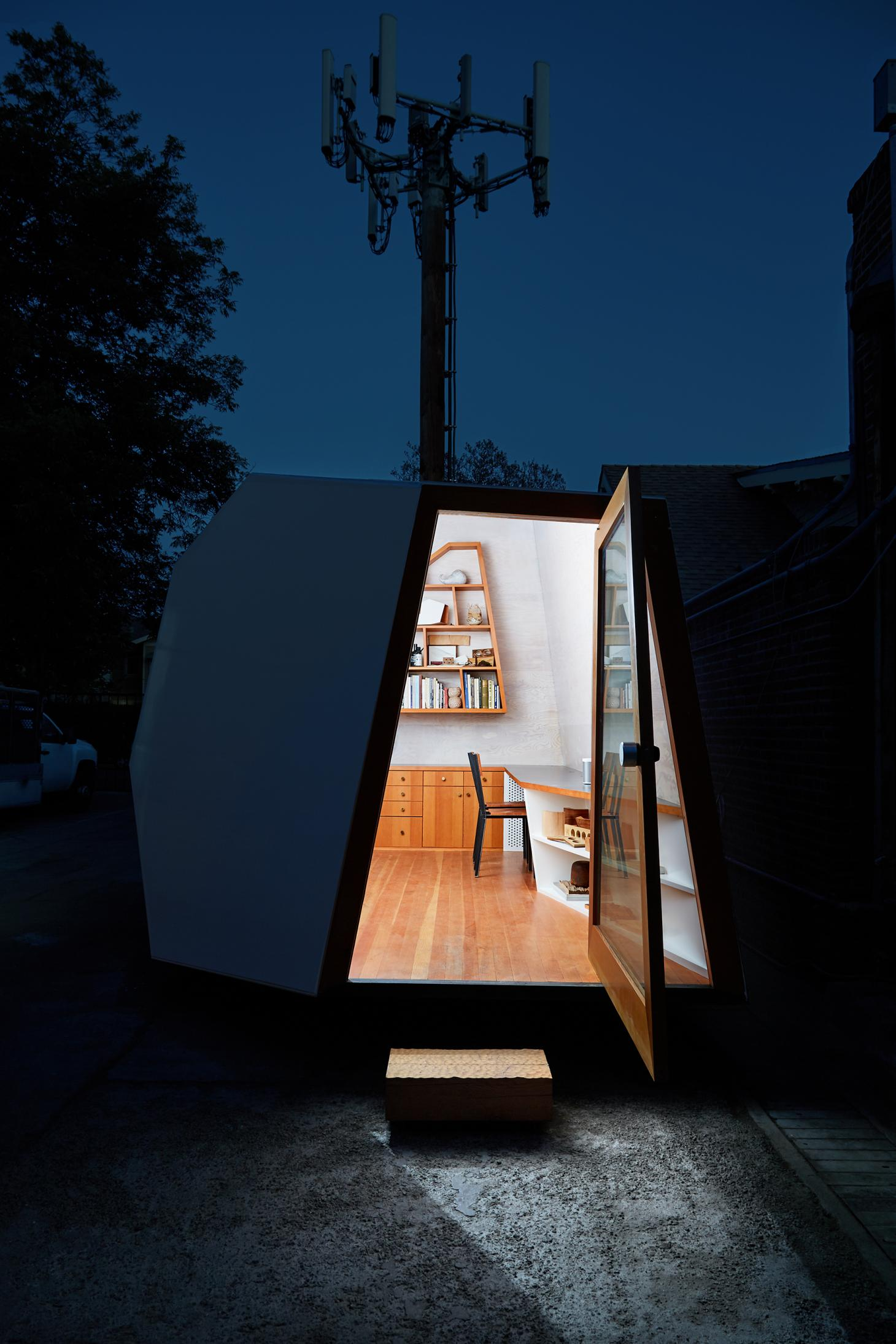 Knowhow Shop micro office in Los Angeles by night