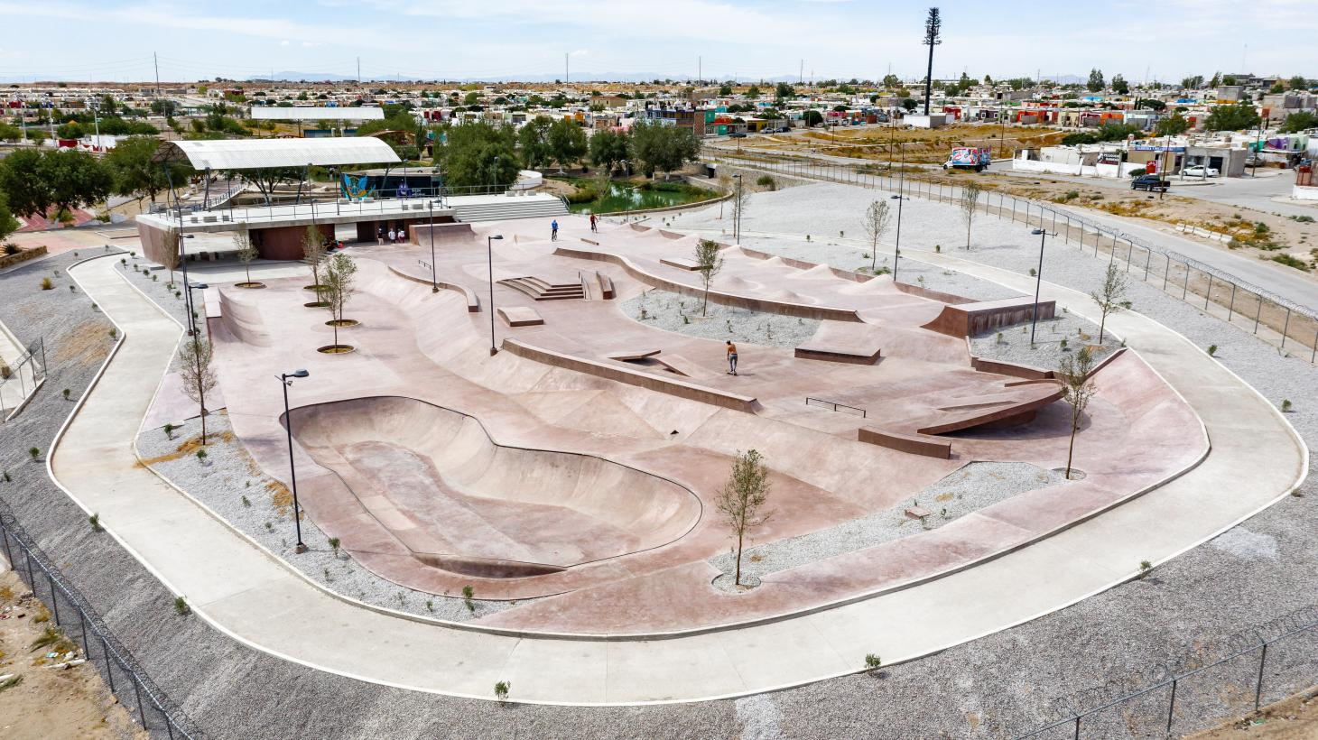 aerial overview of pink concrete skatepark