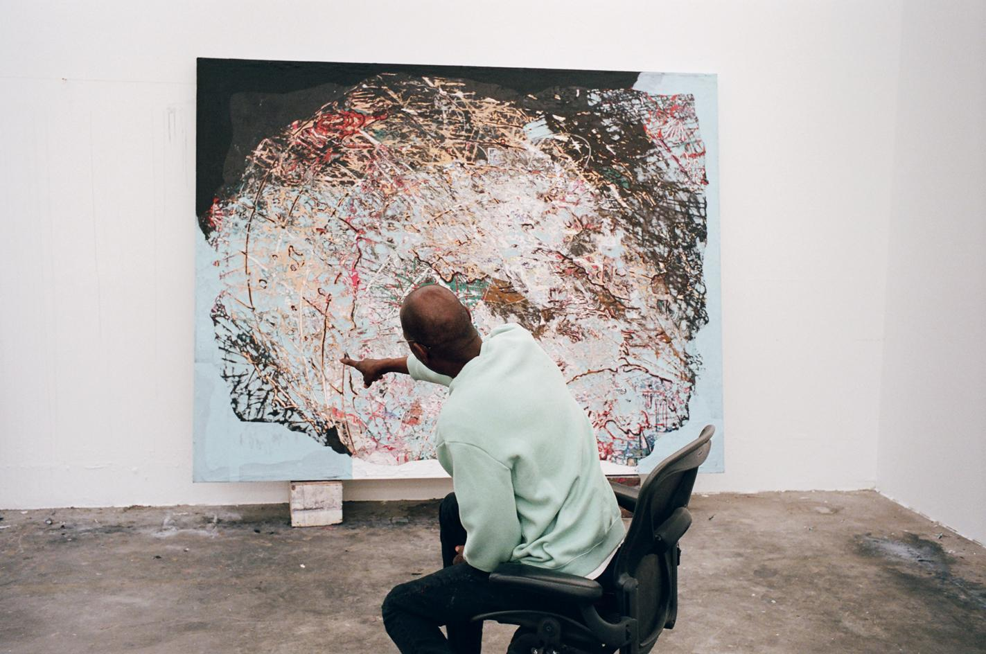 Mark Bradford pictured in his studio in Compton ahead of his inaugural show at Hauser & Wirth