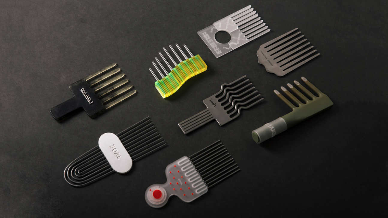 Selection of multicoloured afropick combs