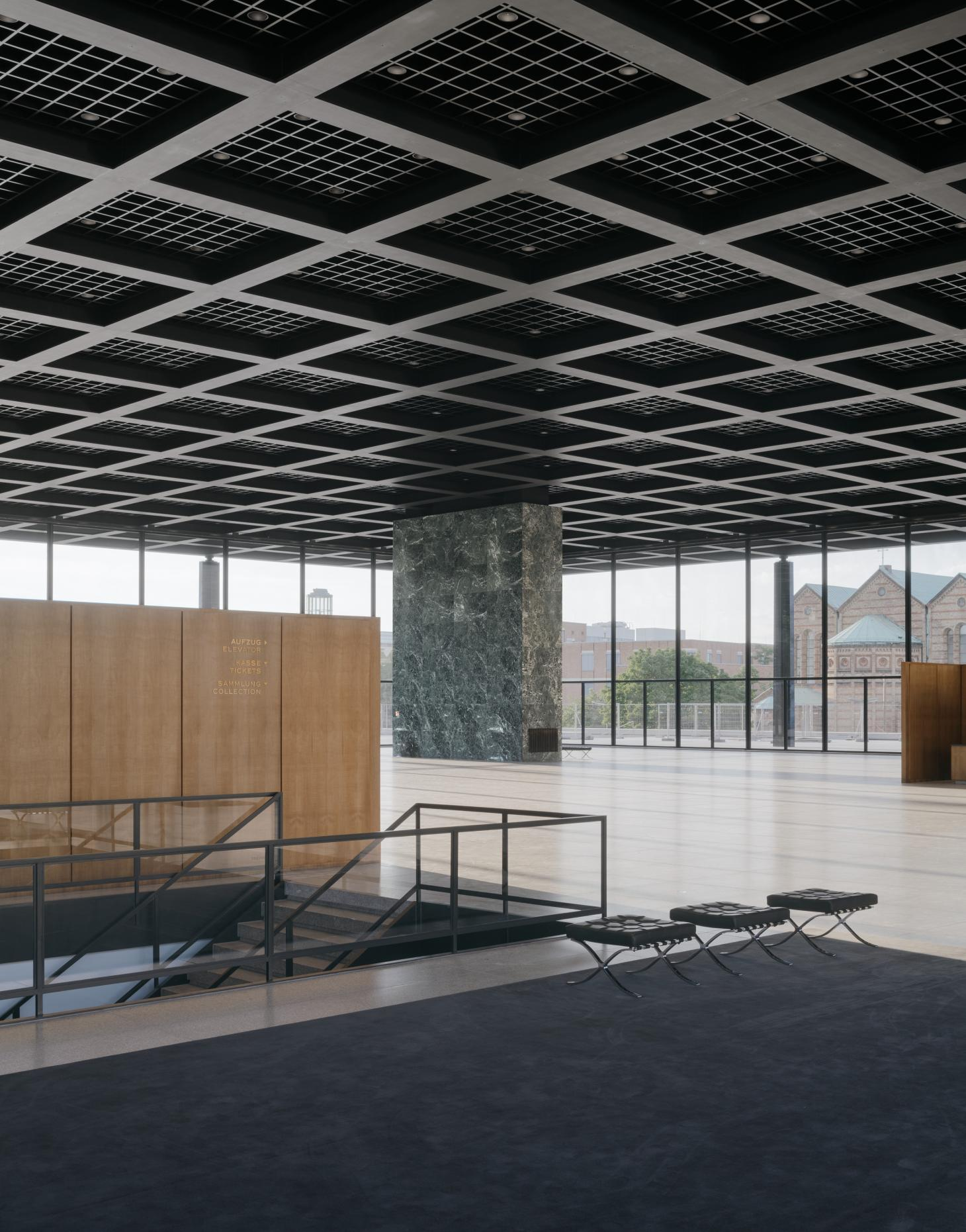 interior with blend of materials at Neue Nationalgalerie refurbishment by David Chipperfield in Berlin