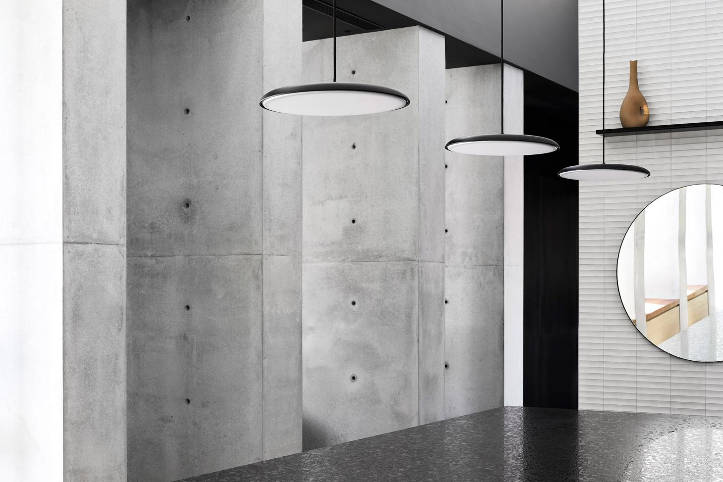 sculptural interior with ceiling lights at Colonnade House by Splinter Society