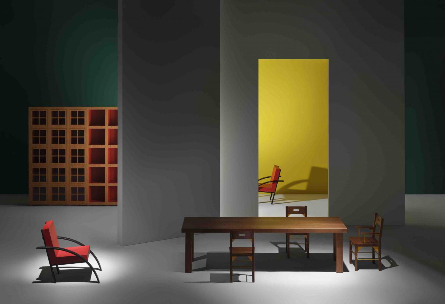 Reissued furniture designs by Aldo Rossi for UniFor, photographed by Alberto Strada