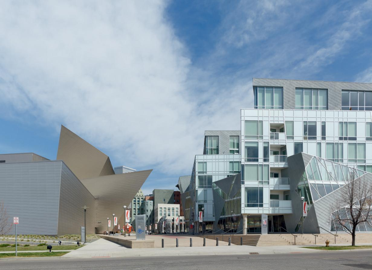 The Denver Art Museum and the Kirk Brown and Wiltse apartment block, by Daniel Libeskind