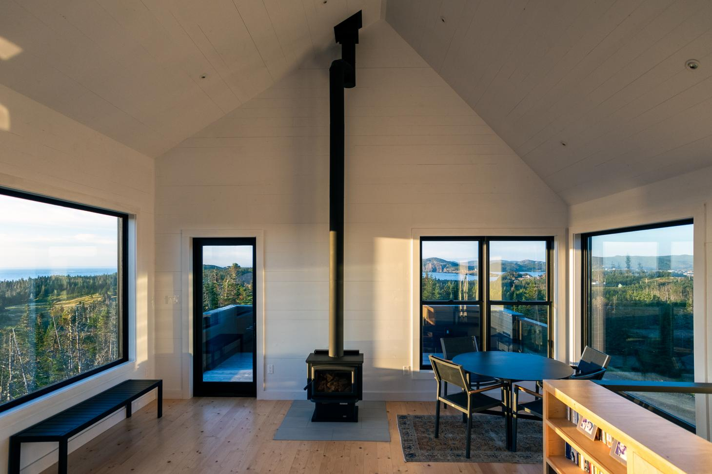 The open plan living space at the Halfway Hill House in Newfoundland