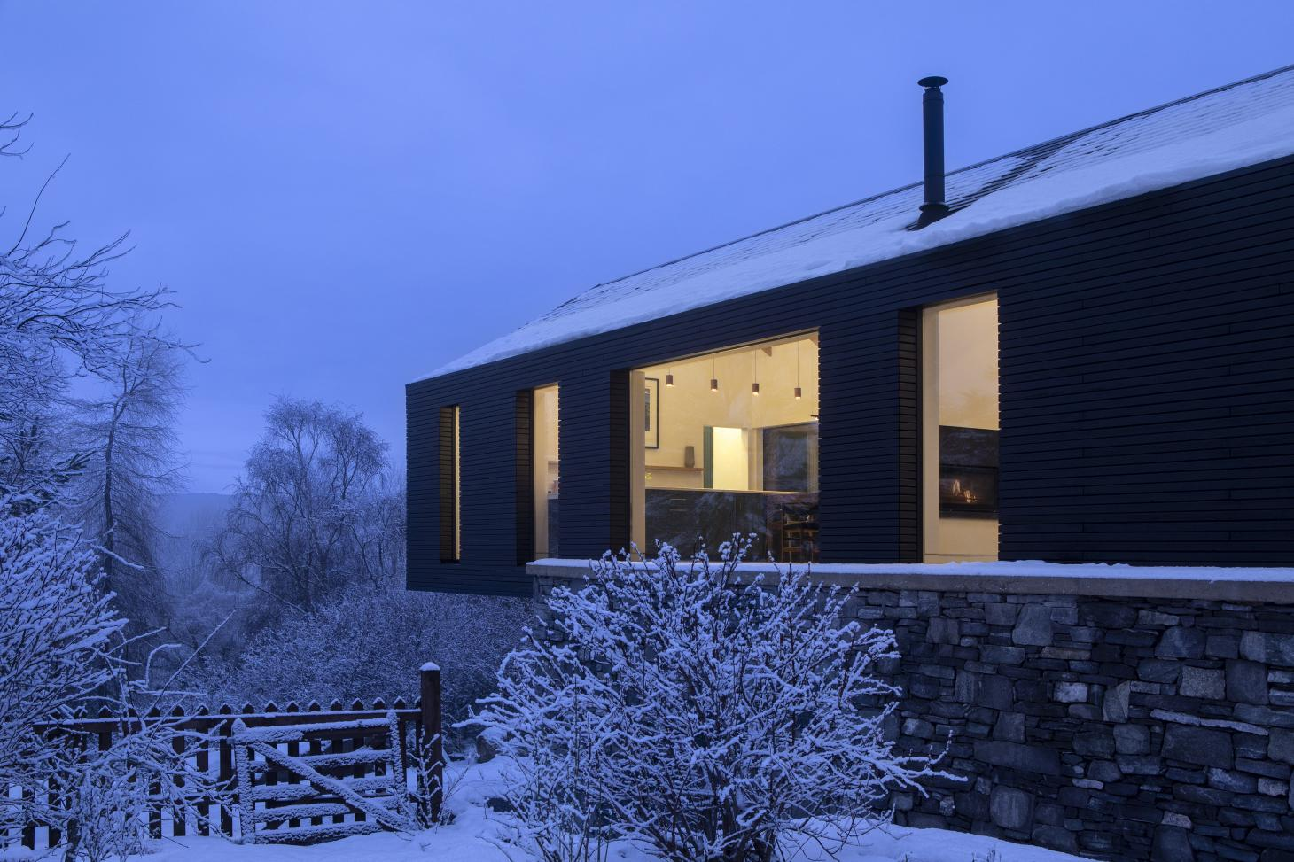 The Lower Tullochgrue House extension is clad in Siberian larch