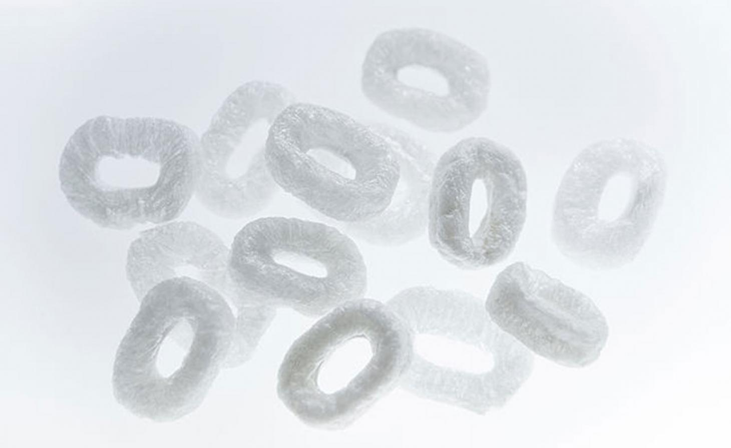 white agar plastic pieces