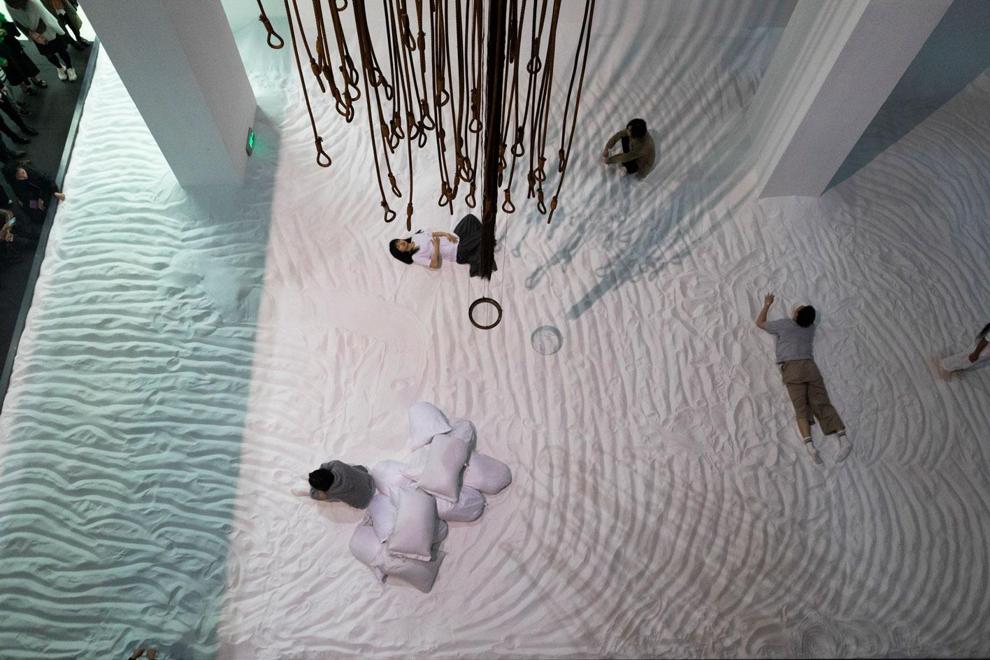 Pan Daijing,Done Duet, (2021), installationview at the 13th Shanghai Biennale 'Bodies ofWater', Shanghai, 2021.Courtesy PowerStation of Art