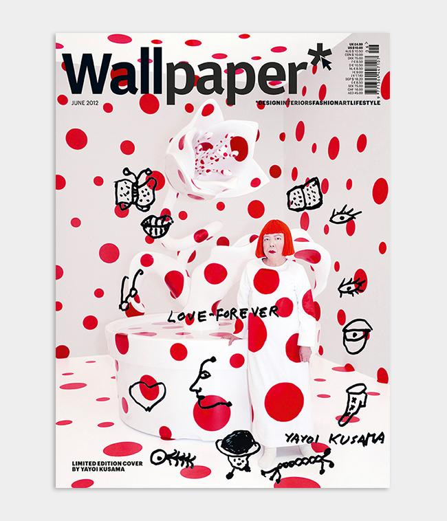 Japanese artist Yayoi Kusama Wallpaper* magazine cover design featuring red polka dots and a message of love forever for the June 2012 issue