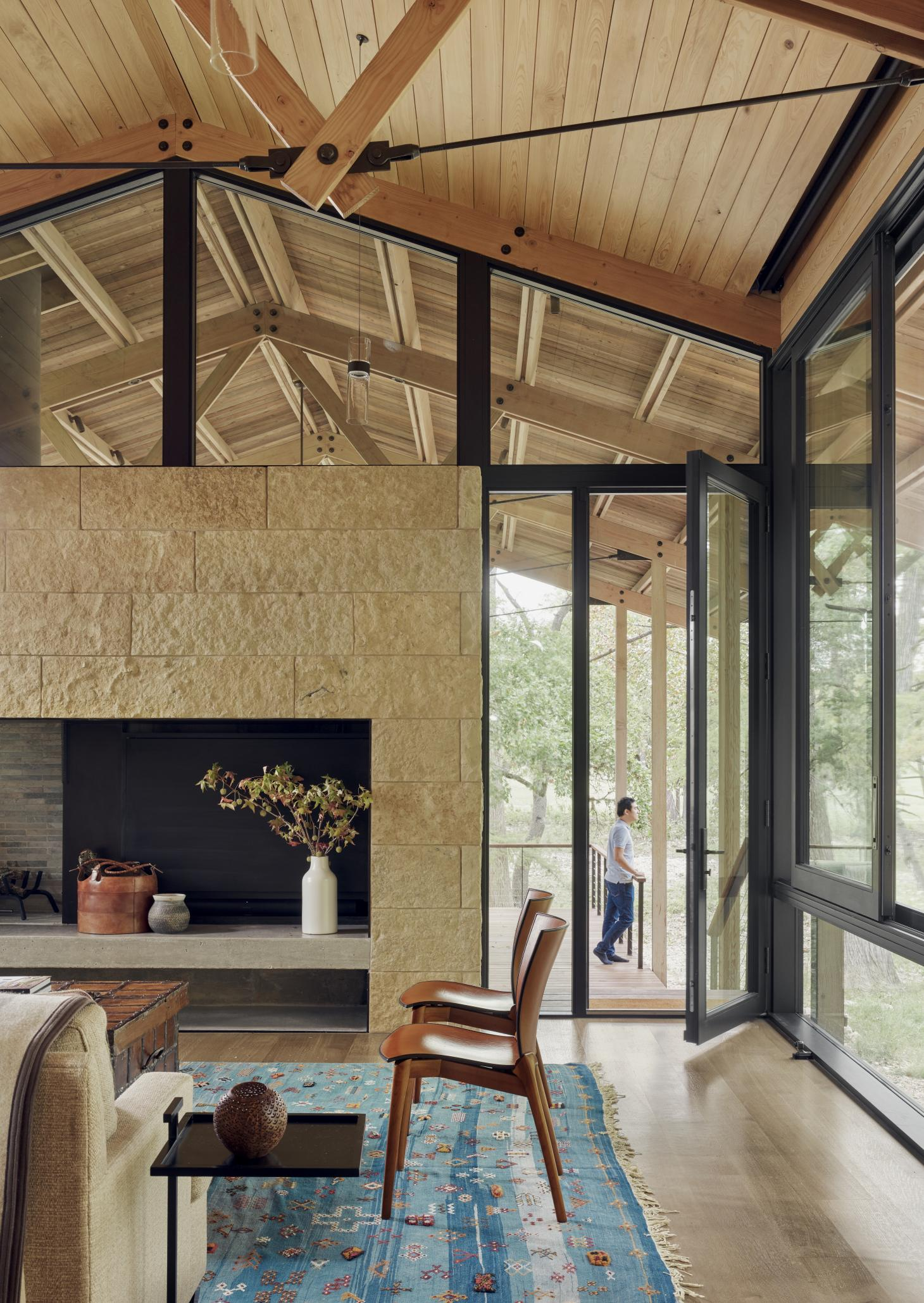 main living space at Verde Creek Residence by Lake Flato