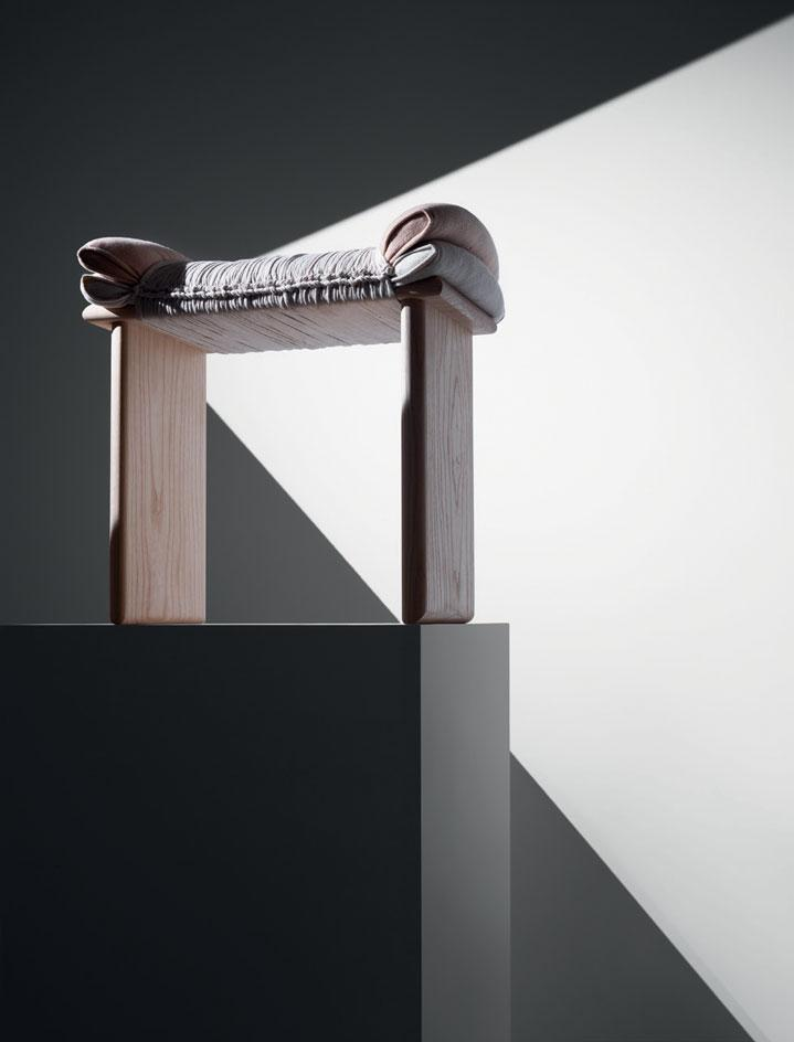 Wooden and wool stool