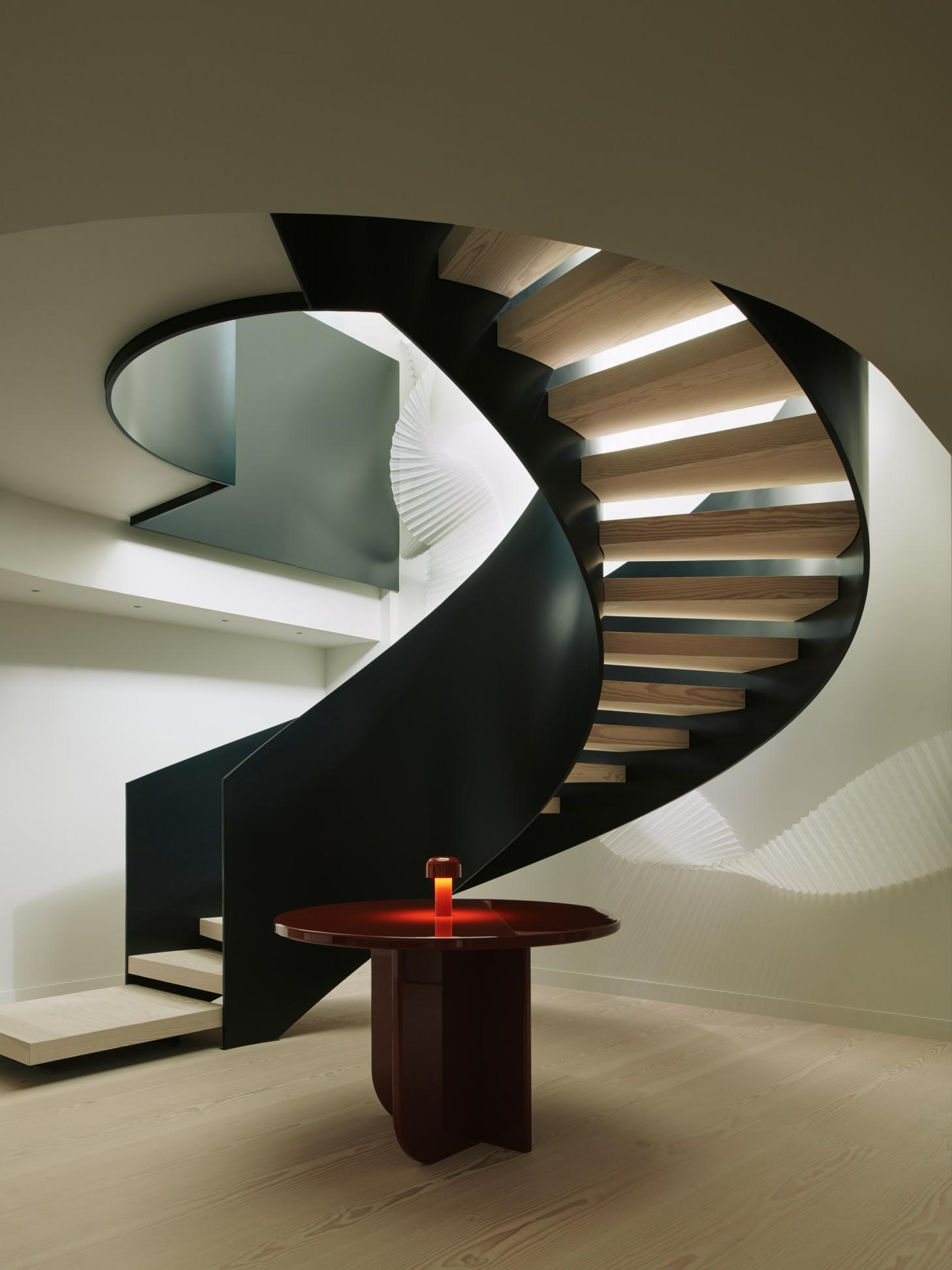 Black steel spiral staircase