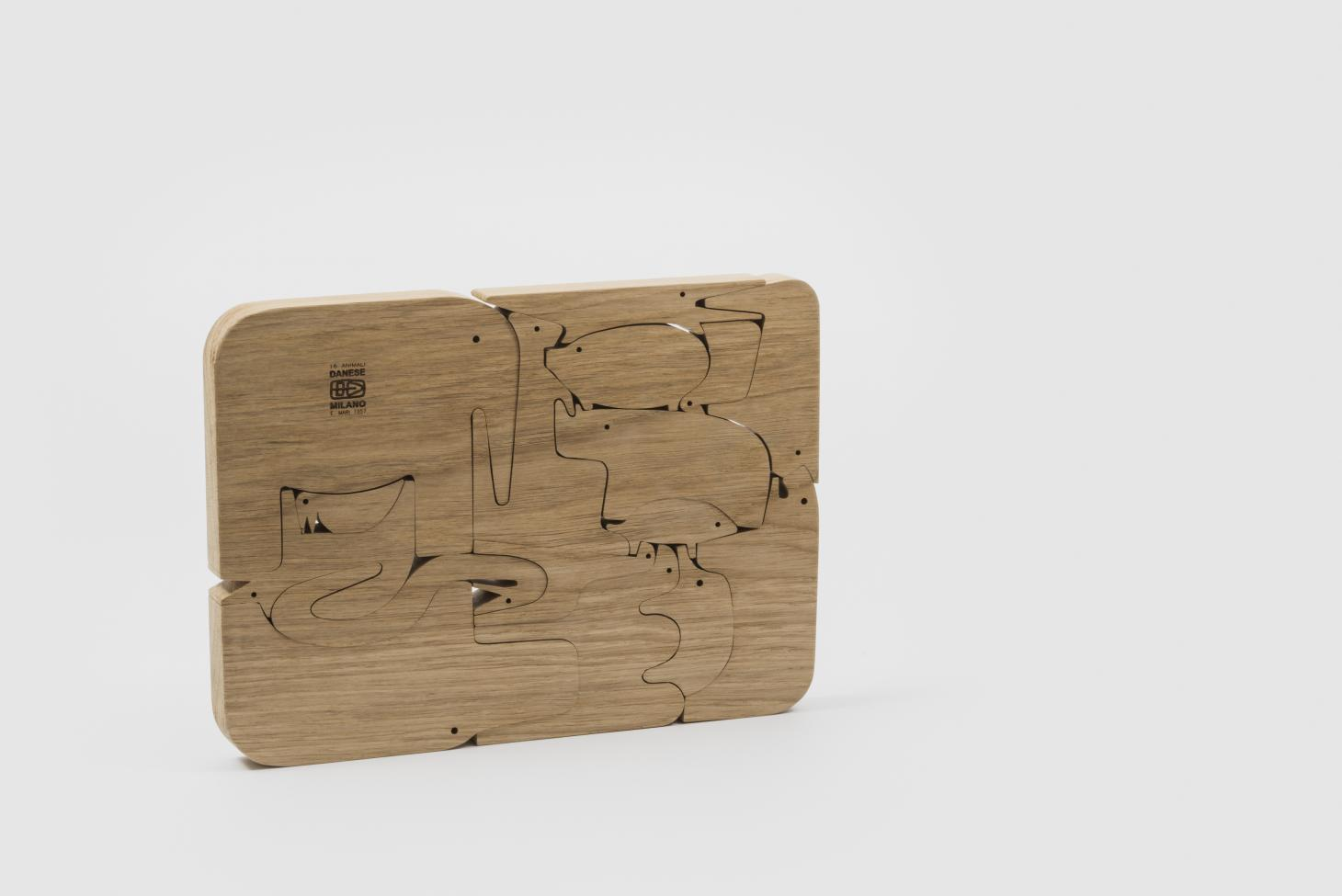 One of Enzo Mari's most celebrated designs was the '16 Animali' wooden puzzle, featuring interlocking animal shapes, produced by Danese