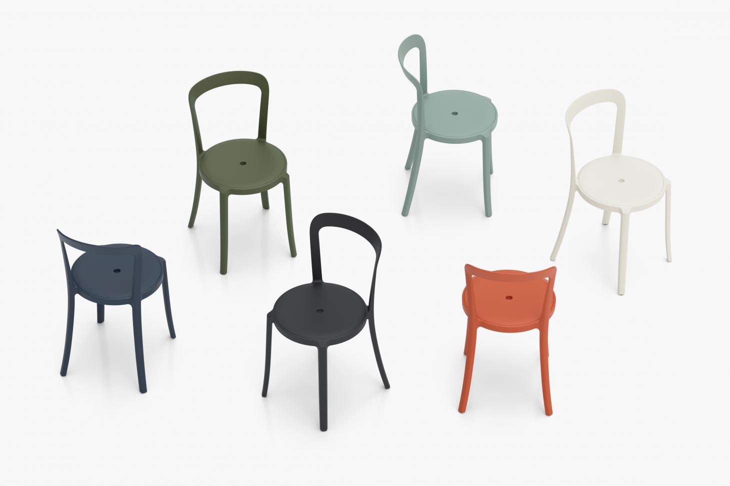 Plastic chairs in green, blue and orange