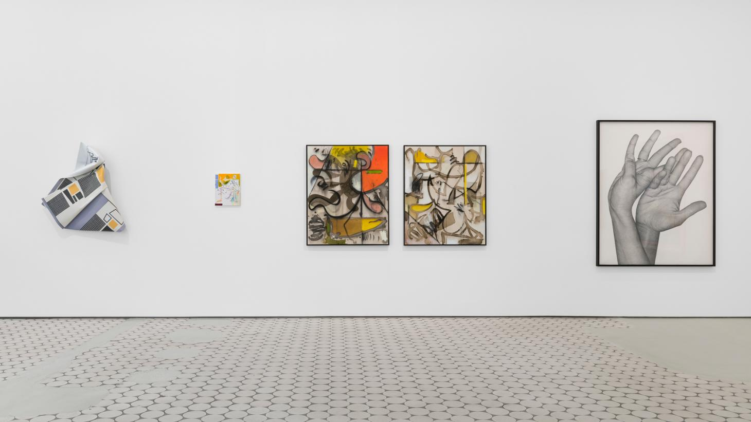 Installation view of paintings and wall pieces in Wentrup gallery's Zoom in – Zoom out exhibition in Berlin