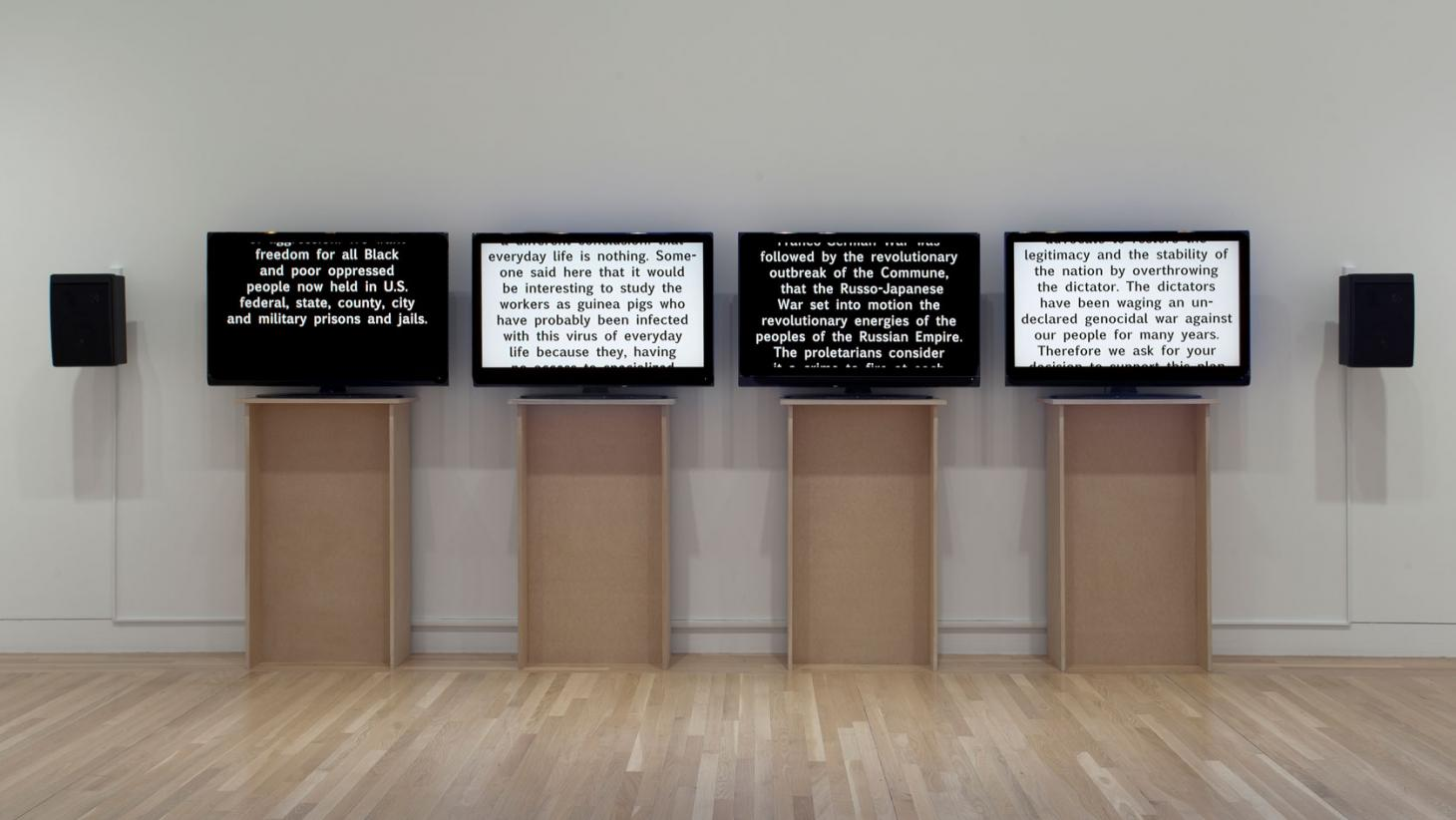 Charles Gaines,Manifestos,2008,Installation view, 'Allof this and nothing', Hammer Museum, Los Angeles 2011