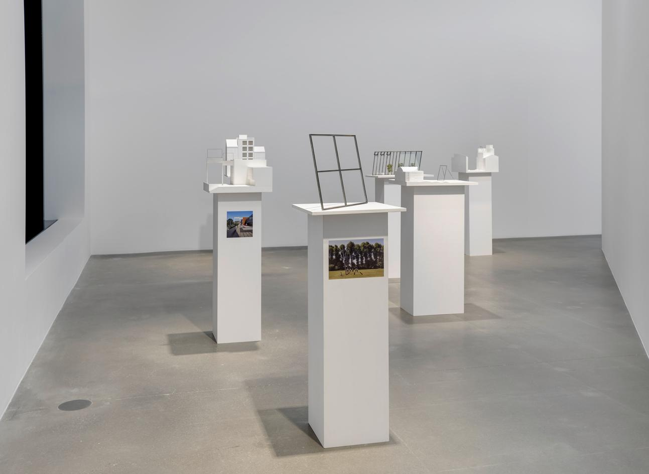 Installation view of Isa Genzken's architectural models at Hauser & Wirth