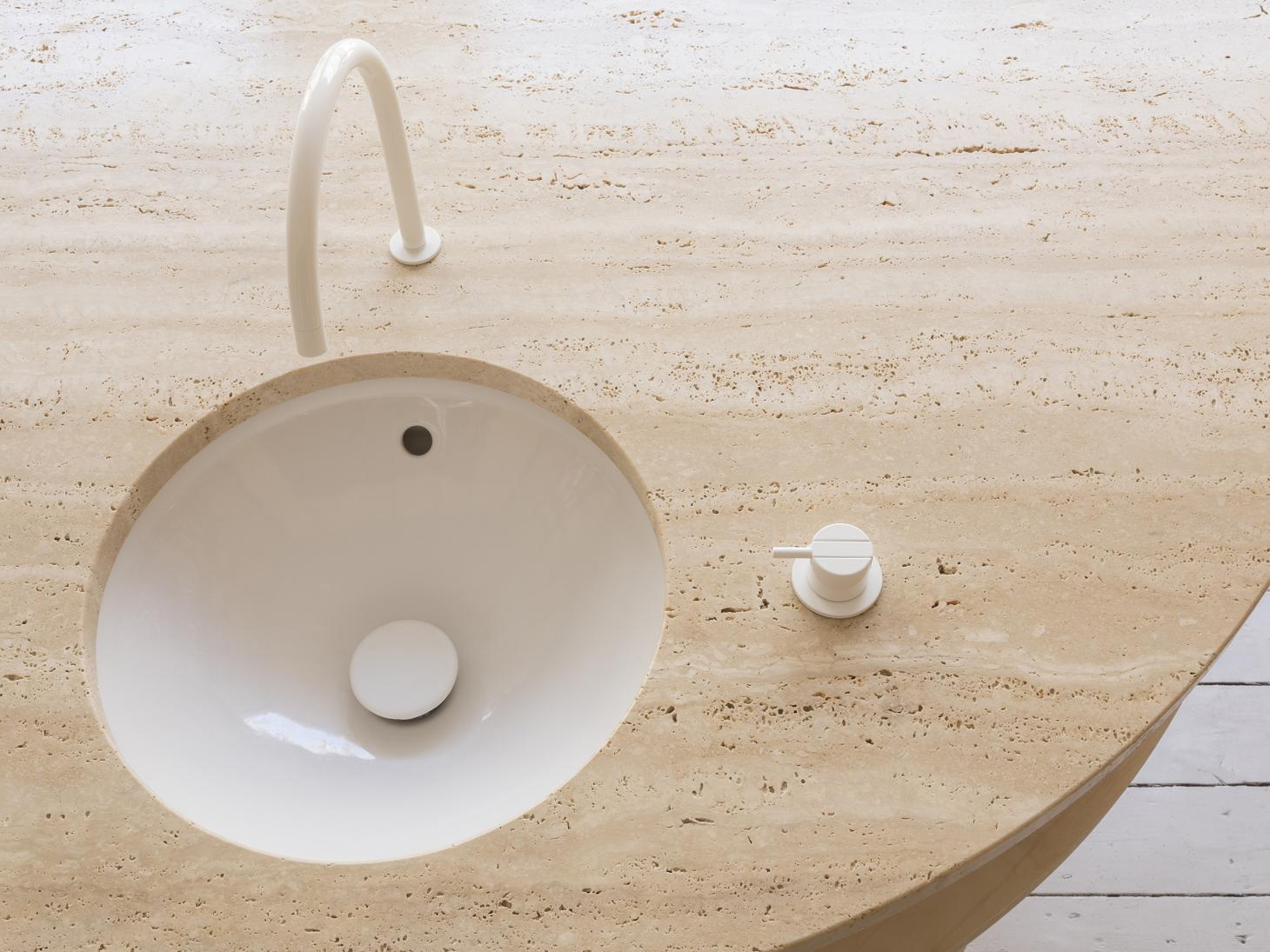 The travertine-topped sink counter at RÖ Skin Treatment Rooms