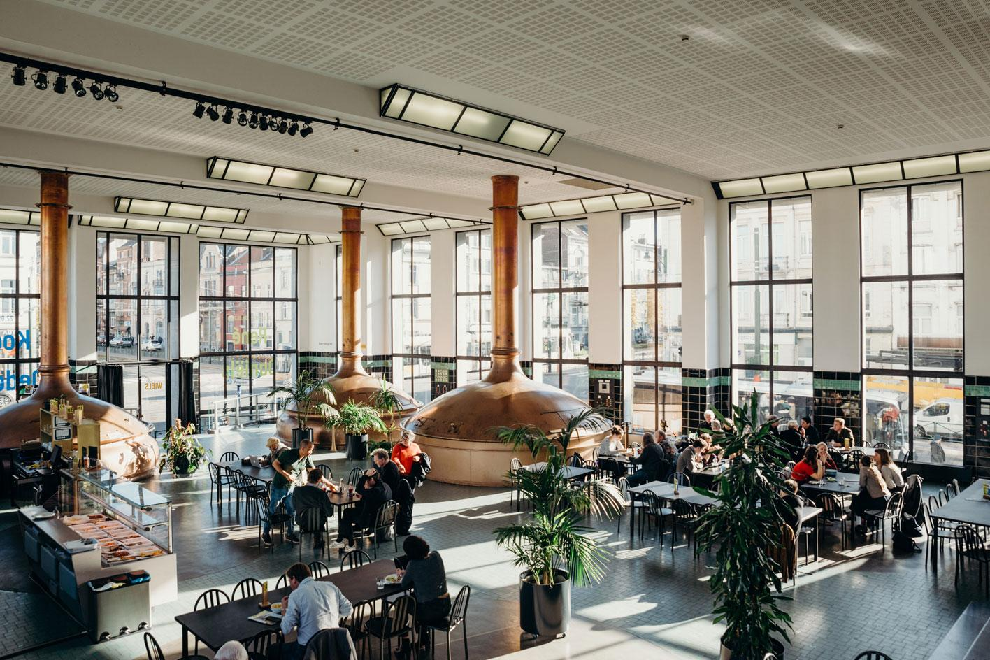 Inside the brewing hall turned caféof Wiels in 2018. Photography:Alexandra Bertels