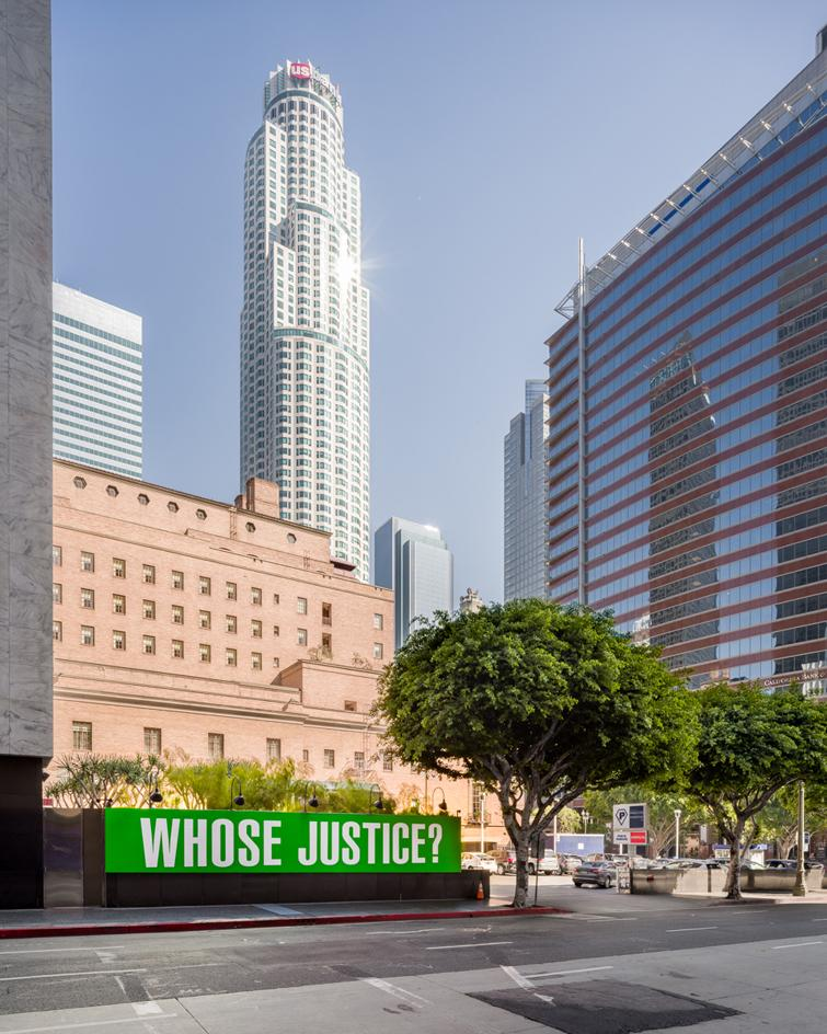 Barbara Kruger's 'Whose Justice' installation in LA during Frieze LA