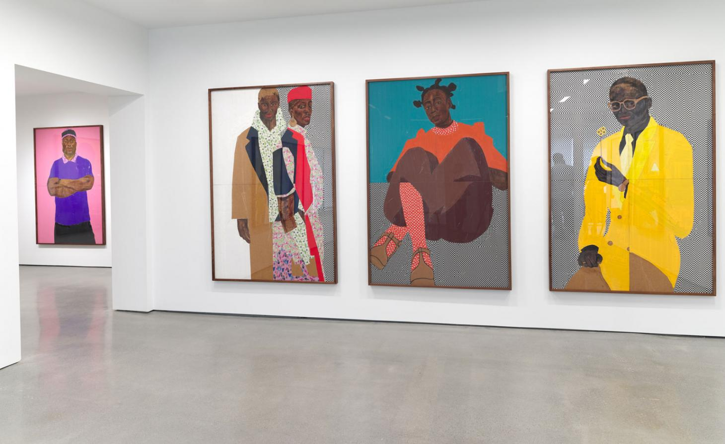 Installation view of Serge Attukwei Clottey's 'Beyond Skin' at Simchowitz Gallery, Los Angeles