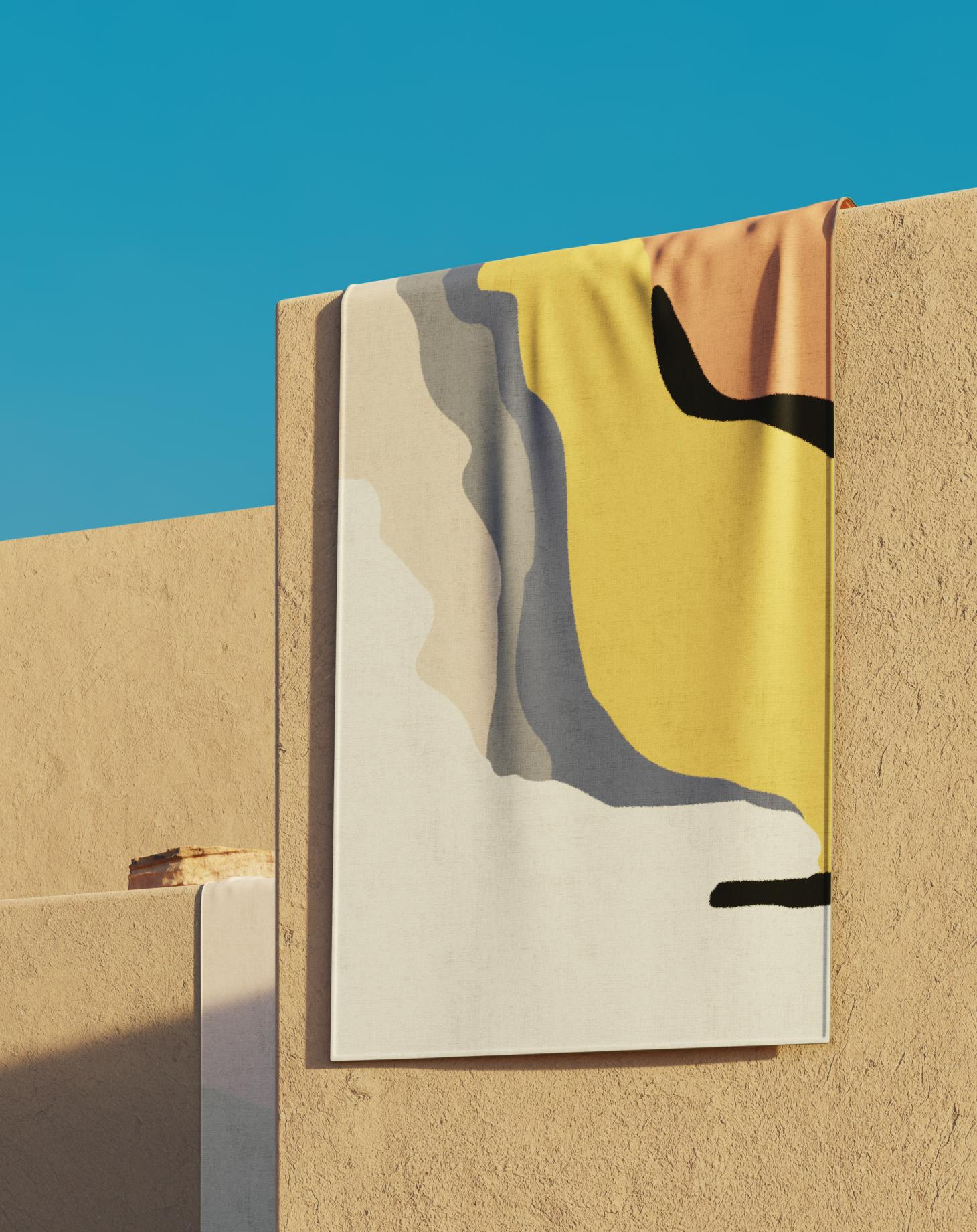 colorful patterned rugs by Tantuvi pictured in a render by Charlotte Taylor depicting desert architecture