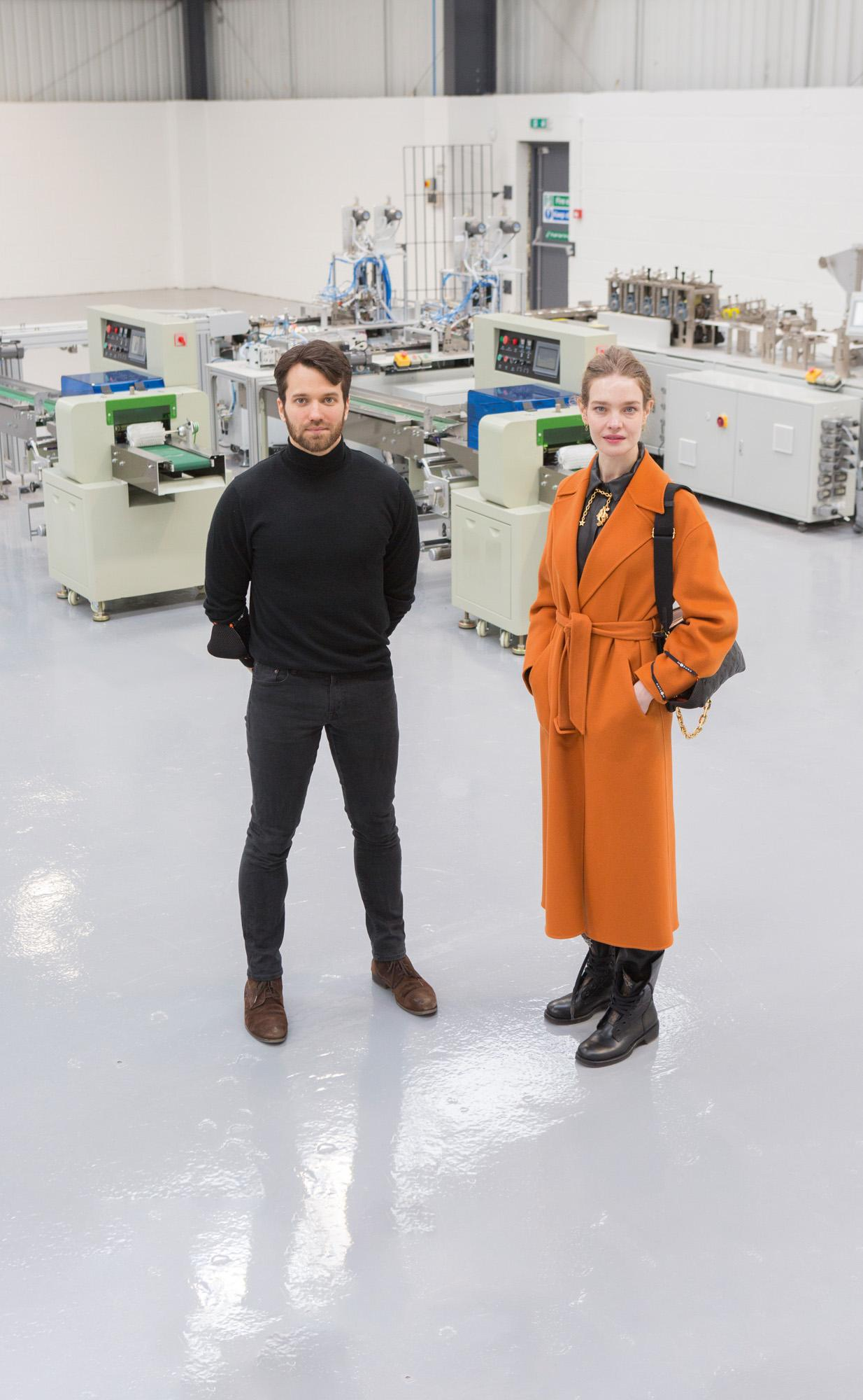 Pentatonic's CEO Johann Boedecker and Vodianova at the new state-of-the-art Masuku AirLab in Hellaby, South Yorkshire