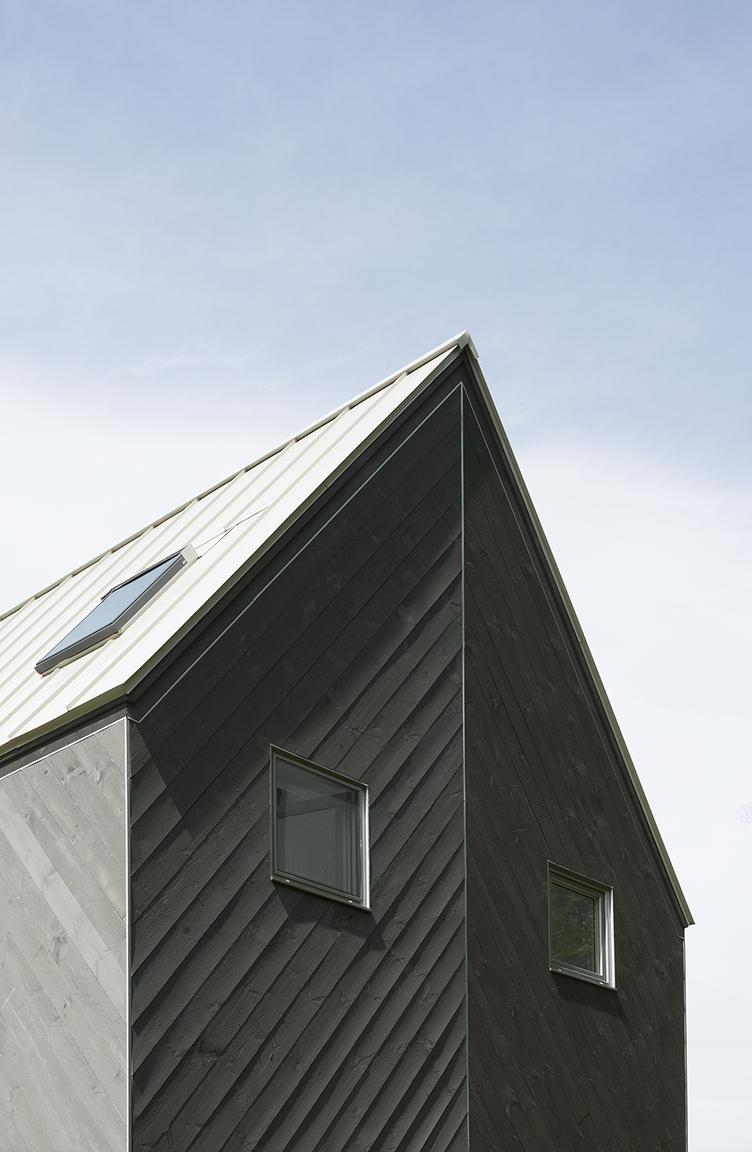 wood clad steep pitched roof detail in Vermont cabin