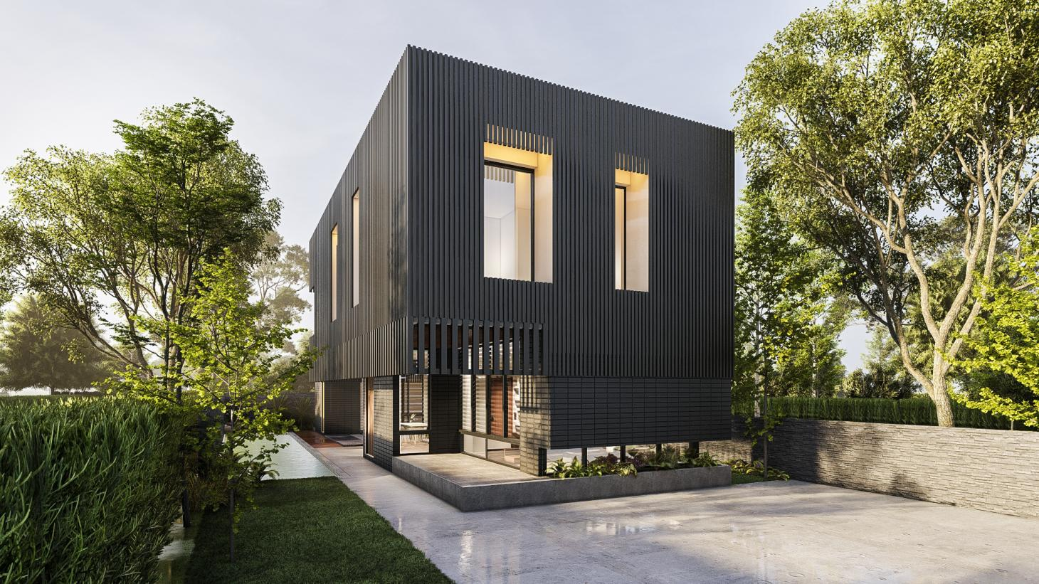 compact ghana house clad in timber