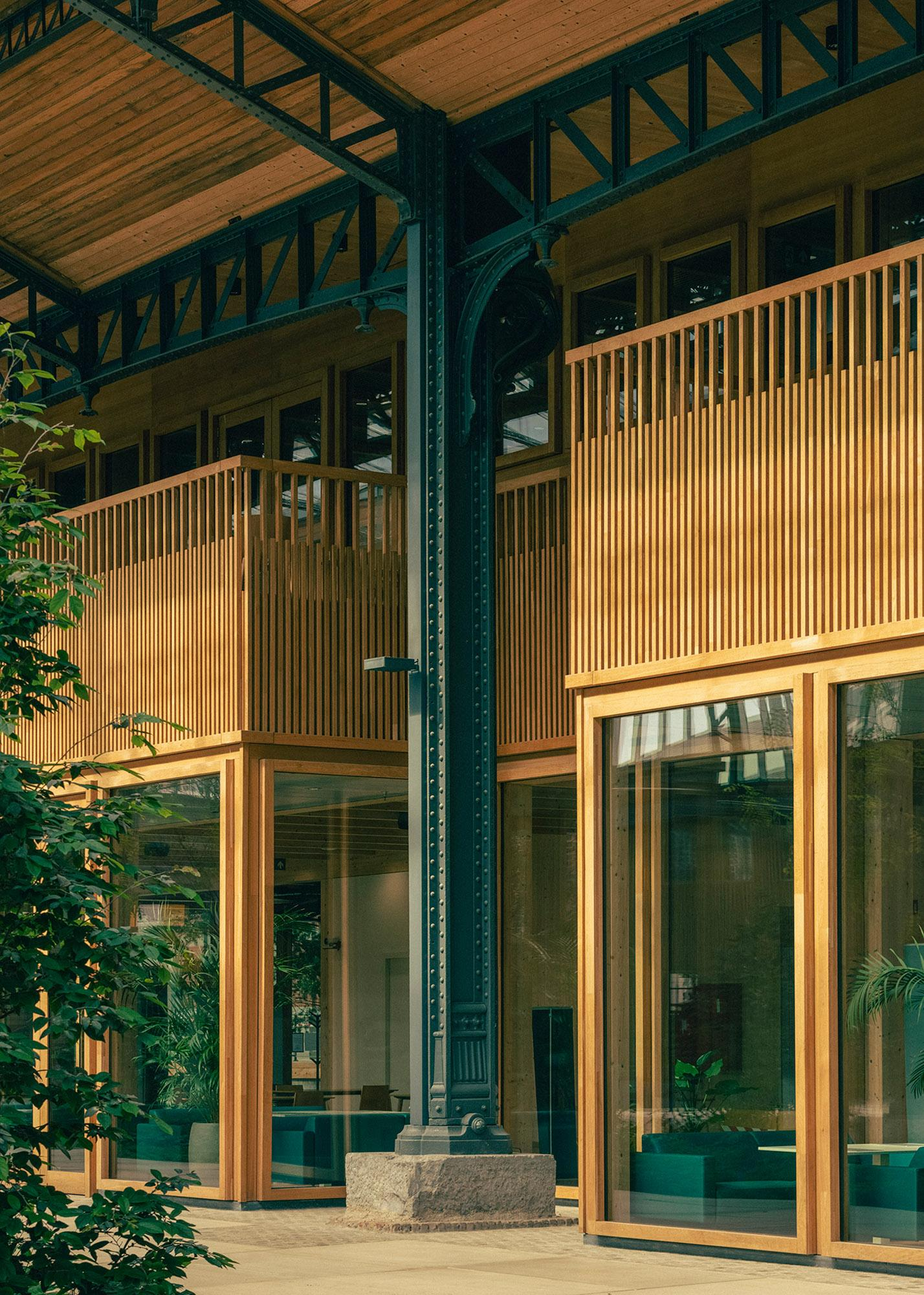 detail of the timber internal pavilions at Gare Maritime in Brussels