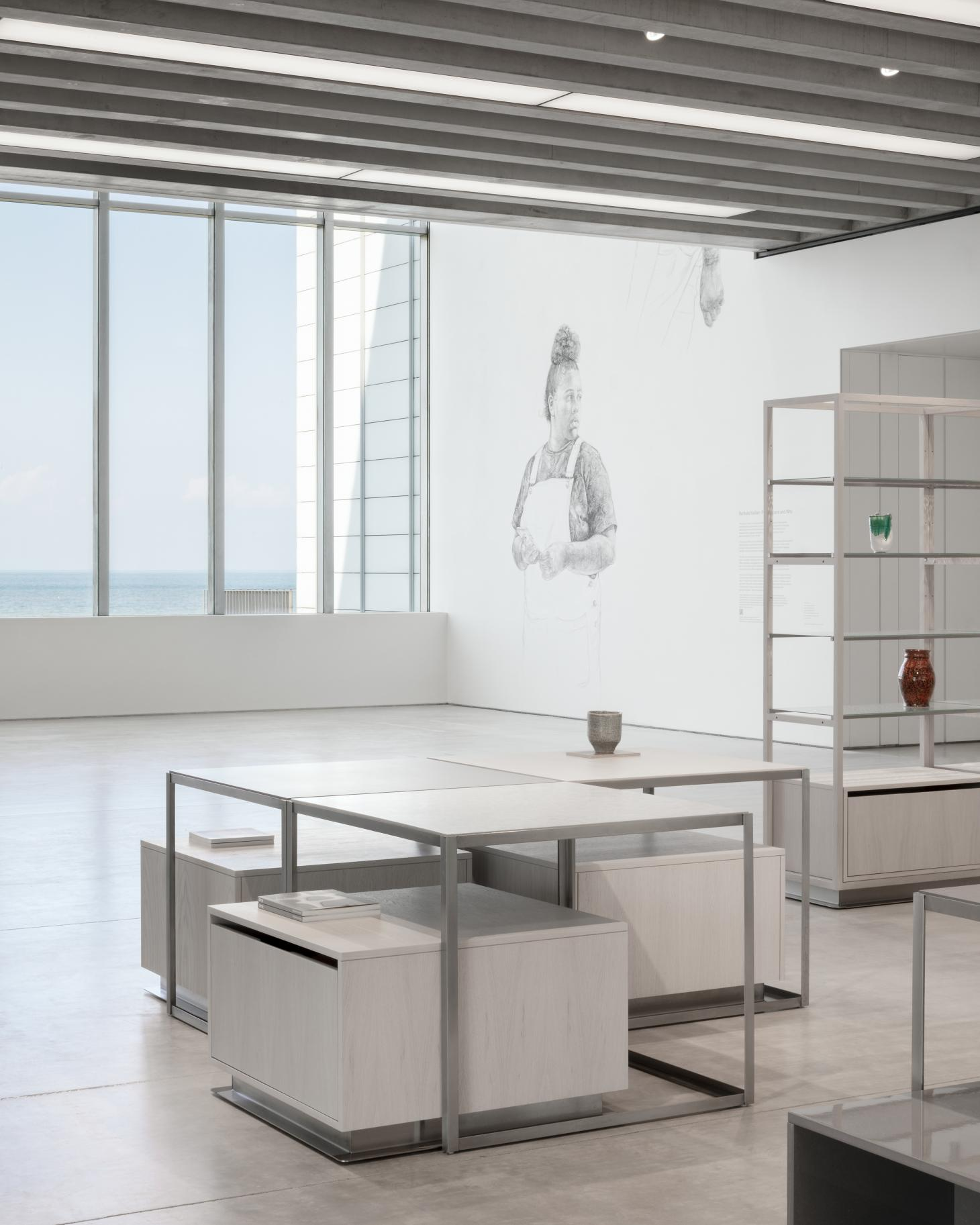 view of minimalist Turner Contemporary shop with views out of the window