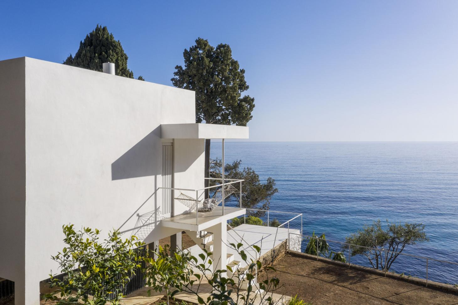 at eileen gray's house in south of France, looking towards the sea