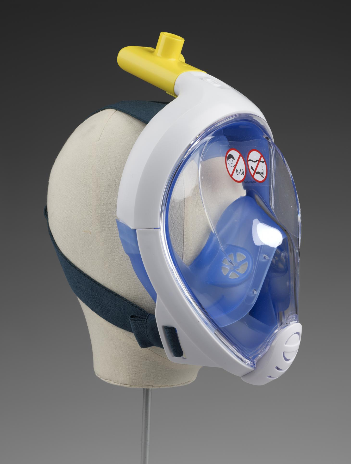 A face mask created for the COVID-19 emergency in 2020, made from a Decathlon diving mask