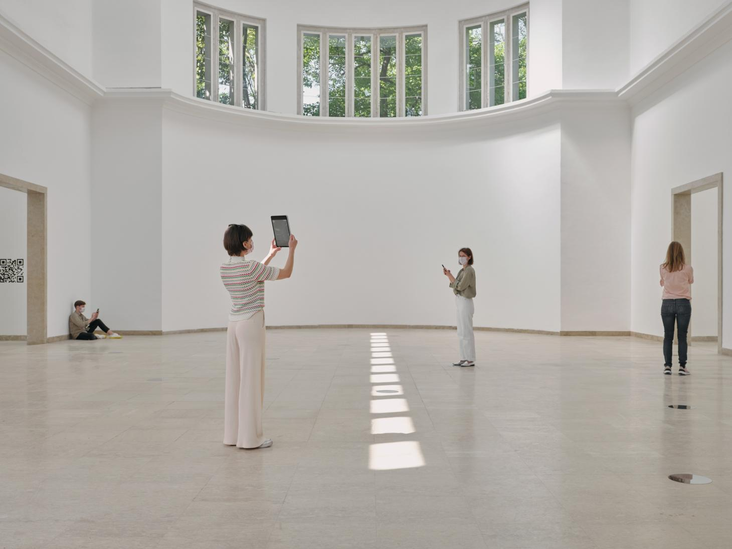 the German pavilion in the 2021 Venice architecture biennale is empty save for barcodes that allow visitors to watch online films