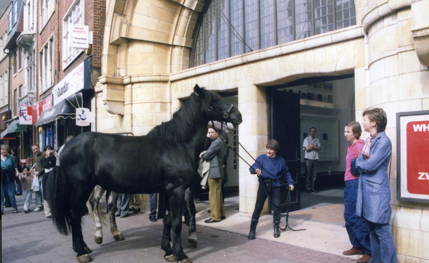 horse entering the Whitechapel Gallery foyer for Jannis Kounelis exhibition, 'A Short History of Performance'in April 2002