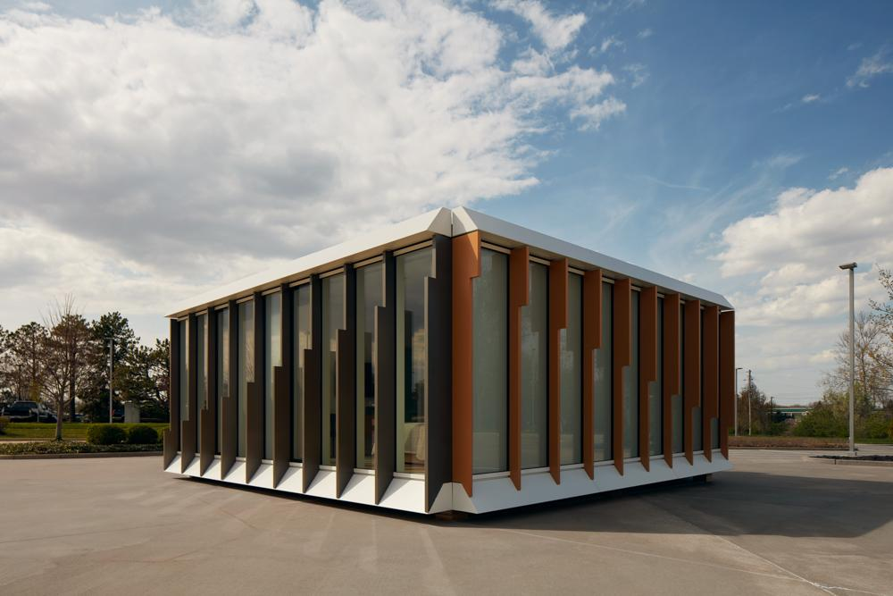 Mitek is a modular housing model by Danny Forster & Architecture, seen here from the outside