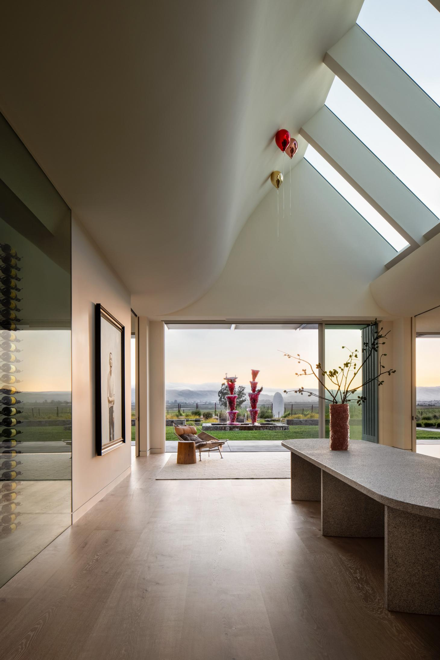 donum estate's donum house by David thulstrup picture featuring tasting rooms with view out to the countryside
