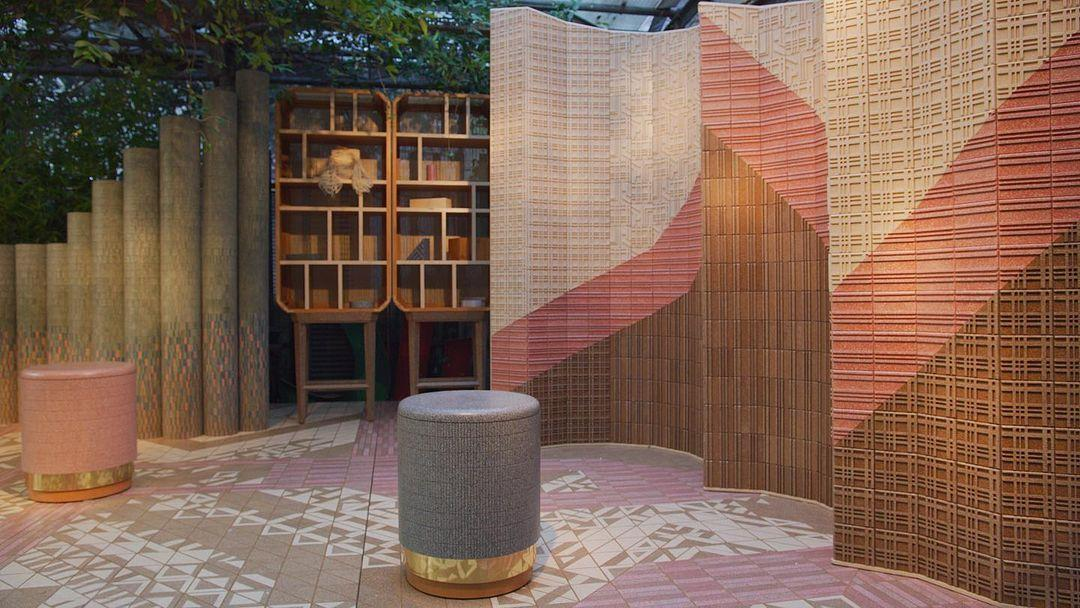 Installation by Nature Squared at Rossana Orlandi gallery in Milan, featuring tiles made from recycled eggshells